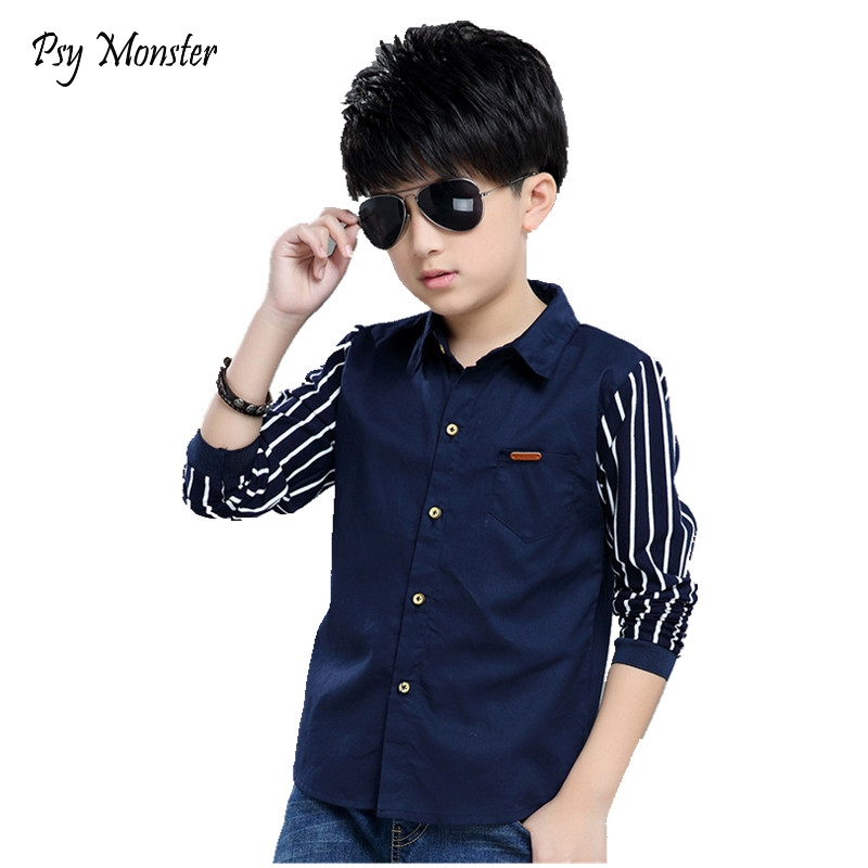 Shirts For Boys Brand Spring Autumn Kids Cotton Casual Shirts Children Blouse Clothing Boys Teenage Sports School Uniform Shirts 2