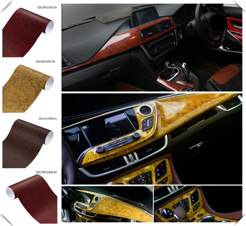 Car interior film wood grain paper color bright surface console for Chevrolet Blazer Traverse Tahoe Equinox Trax Sonic FNR-X