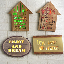 Hot Sale Wooden  Frame Wall Decoration Night Light Colorful Hanging Lights Lamp Home Dropshipping