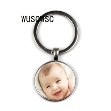 Photo of handmade personality family photo baby boy dad mom brother sister grandmother family portrait private custom keychain(China)