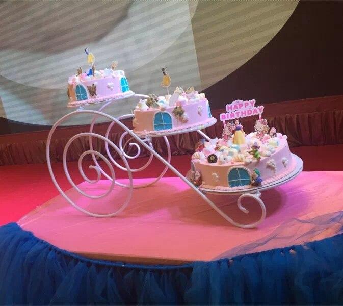 Grand plateau en métal de gâteau de support de gâteau (8 pouces-14 pouces) support de présentoir de Cupcake de 3 niveaux support de plateau de désert de fête d'anniversaire de mariage - 6