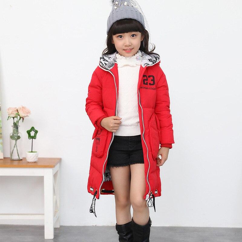 2016 yeni kız aşağı kış ceket kız ceket büyük çocuklar için çocuk kış ceketler kapşonlu yaka uzun kabanlar parka mont
