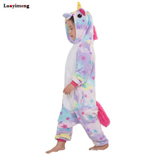 Купить с кэшбэком Children Kids Rainbow Star Unicorn Pajamas Winter Pyjamas Flannel Hooded Pijama Sets Animal Sleepwear For Girls Boys Sleepwear