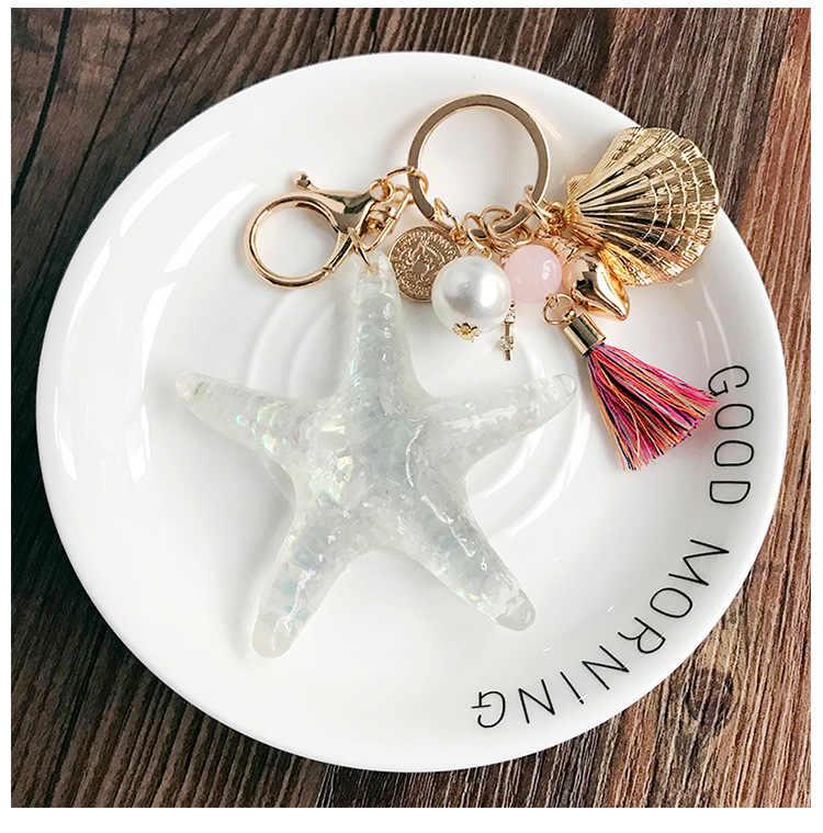 แฟนซีแฟนตาซีใหม่การ์ตูน Sea World ปลาดาว Pearl Shell Keychain พวงกุญแจโซ่พวงกุญแจจี้คริสตัลพวงกุญแจผู้หญิงของขวัญ