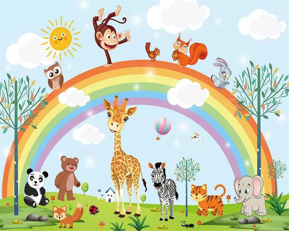 Beibehang Mural Wallpaper Hand Drawn Cartoon Animal Rainbow Children Room Background Wall Furniture Decoration 3d Wallpaper