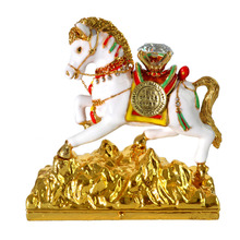 Feng Shui White Victory Bejeweled Horse For Career Promotion Luck