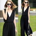 Summer Club Party Black With White V-neck Embellished Cuffs Long Mesh Sleeves Loose Jumpsuit 809 rompers womens casual jumpsuit