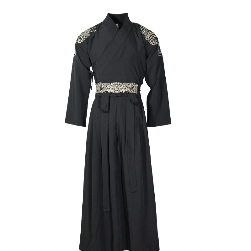Embroidery Classical Dance Costume Black Hanfu Festival Outfit Stage Performance Clothes Folk Fairy Dress 3 Pcs Set DF1140
