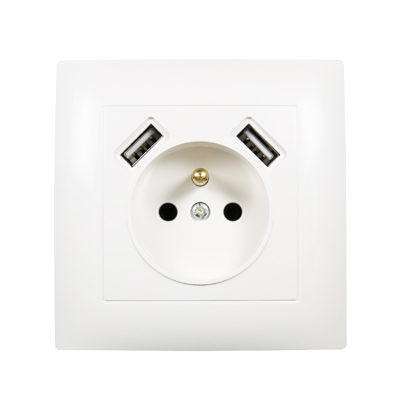 USB Wall French Socket Double USB Port 5V 2A Free Shipping  Usb Enchufes Para Pared Prise Electrique Prise Usb Murale  LC-19
