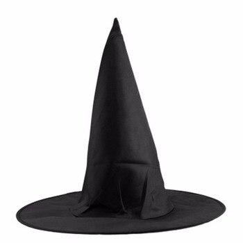 2018 Del Nuovo Halloween Panno di Oxford Strega Cappello da Mago Cappello Magico Cappello da Mago Cappelli da Partito Giocattoli Cosplay per Adulti E Bambini nero Guglia Cappello