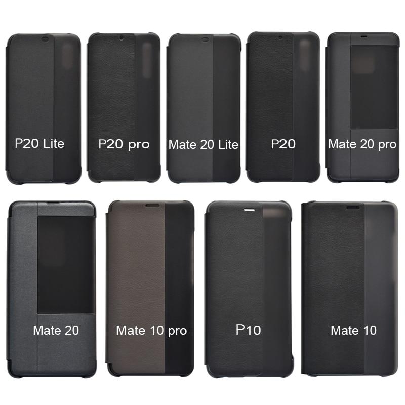PU Leather Hard Window View Flip Case for Huawei P10 P20 P30 Pro lite Mate 20 Lite Mate 30 Pro 4