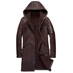 Длинное пальто из 100% натуральной овечьей шерсти, куртка из короткой овечьей шерсти, мужское зимнее пальто с мехом серого цвета
