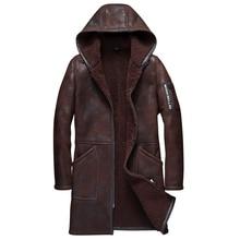 100% Real Sheepskin Fur Long Coat Crack Craft Genuine Sheep Shearling Jacket Male Winter Flight Coat Gray Men Fur Warm Overcoat