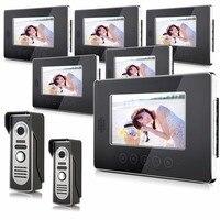 7 дюймов проводной домофон Системы видео телефон двери с шестью indoor Мониторы