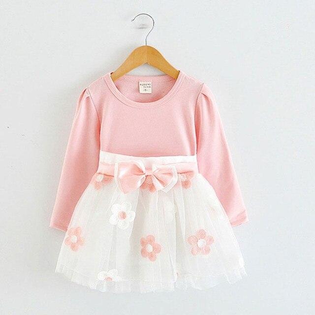Dài Tay Áo Bé Cô Gái Ăn Mặc Cho các Cô Gái Làm Lễ Rửa Tội Sinh Nhật 0 2 t Trẻ Sơ Sinh Dresses Quần Áo Trẻ Em Casual Vestido Infantil 24 m