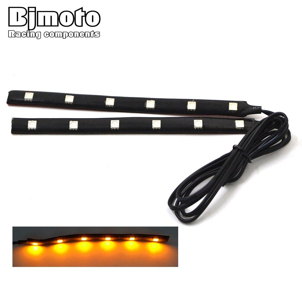 2PCS Universal Motorcycle Strip Turn Signal Indicator Blinker Light Amber 6 LED 12V Strip Light For Honda Kawasaki Yamaha Suzuki