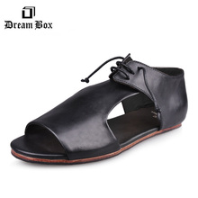 dreambox Sandals American summer time youth males's seashore footwear actual leather-based toe carrying Roman sandals