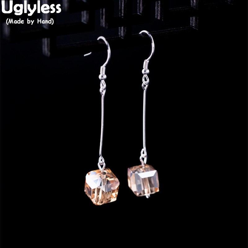 Uglyless Square Earrings Crystal-Brincos-Bijoux 925-Sterling-Silver Women Geometric