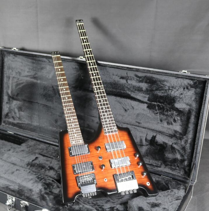 Top Quality Double Neck Headless Electric Bass & Guitar Flamed Maple Veneer Tobacco Burst Color Free Shipping
