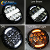 105W Black 7INCH Round Led Headlights With White DRL Amber Turn Signal Angel Eyes For Jeep
