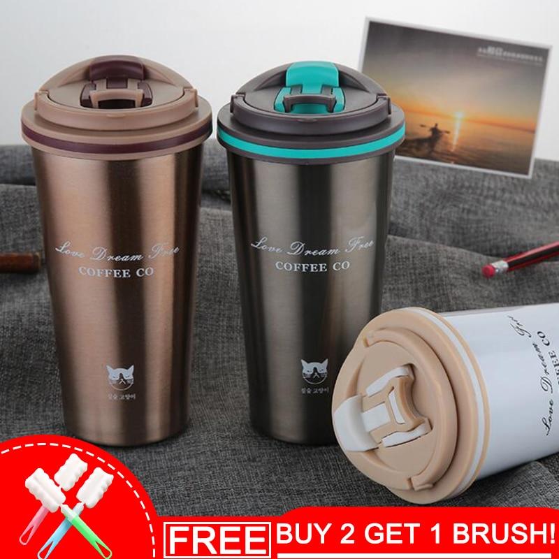 Keelorn 500 ml termo taza de café taza con tapa Thermocup sello de vacío de acero inoxidable frascos Thermo taza de agua del coche botellas
