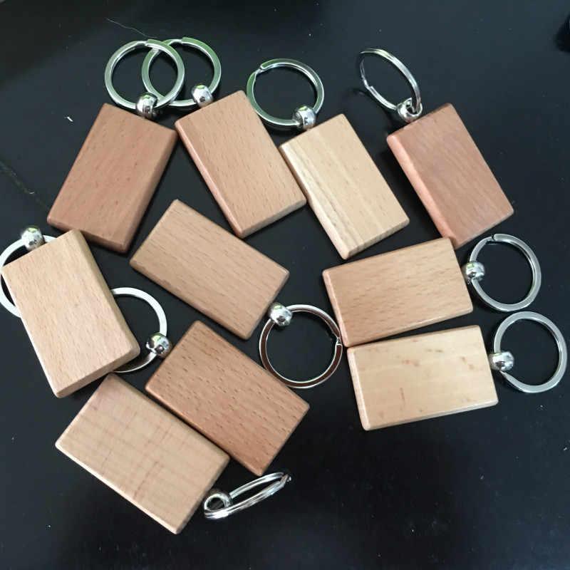 2 uds llavero de madera en blanco personalizado EDC llavero de madera llavero etiquetas DIY llavero suministros para artesanía