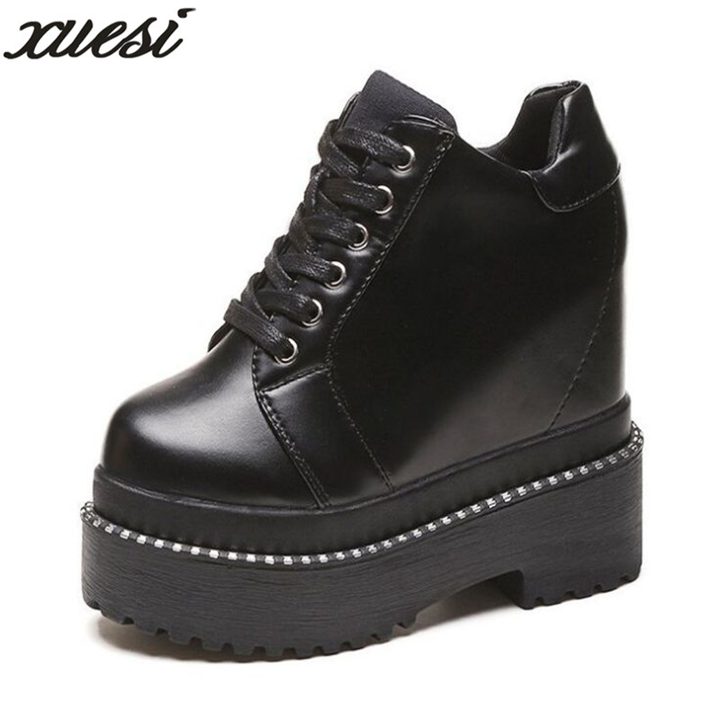 8d2bd4b2633b XUESI Footsteps Of Youth Pu Nubuck Leather Lace Up Graffiti Ankle Boots  Height Increasing Platform Mixed Colors Women Boots-in Ankle Boots from  Shoes on ...