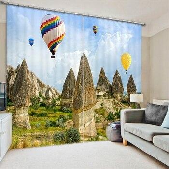 3d Scenic Karst Desert Gobi Hot Air Balloon Window Curtains Blackout for Living Room Bedroom Kitchen Drapery Fabric Print Custom