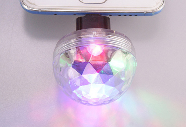 Mobile Phone Light Ball Sound Control Crystal LED Mini Disco Portable Party Lamp Stage Bar Voice Activated USB 3