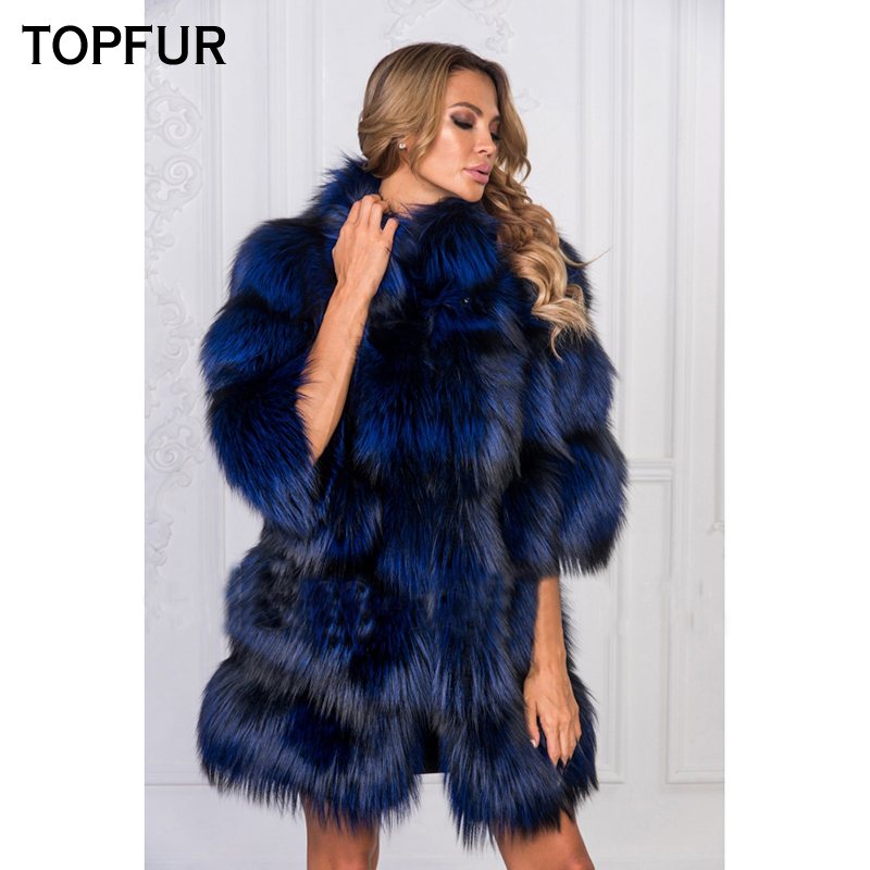 TOPFUR Luxury New Real Fox Fur Coat For Women Winter Natural Silver Fox Fur Jacket With Fur Collar Fashion Real Fox Fur Coat in Real Fur from Women 39 s Clothing