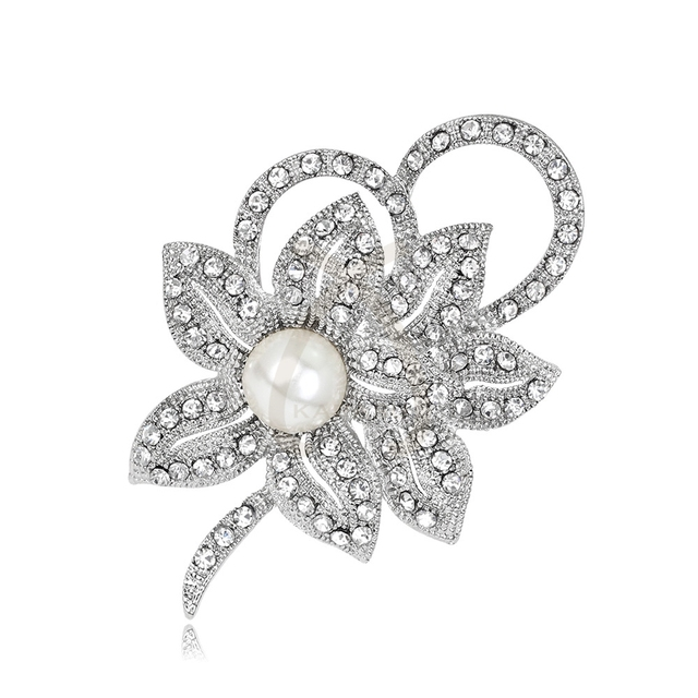 Creative Rose Flower Grape Love Wing Brooch Pins Rhinestone Silver-color Simulated Pearl Bow Brooches for Women Jewelry