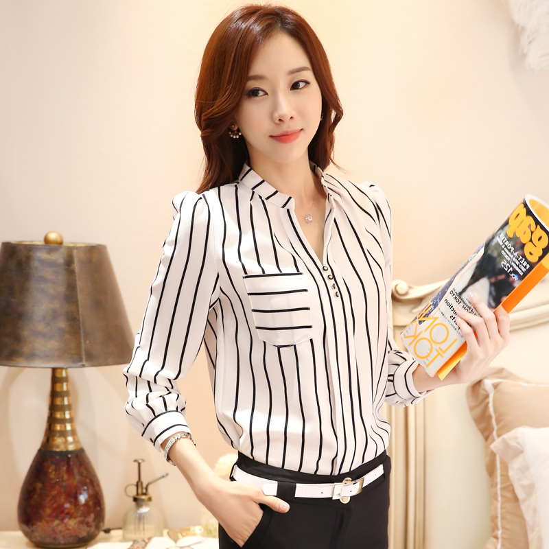 2015 Autumn New fashion shirts, women's v neck stripped long ...