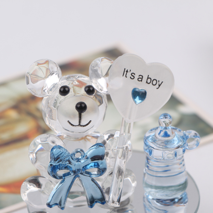 a17dee1f02 50pcs Mini Crystal Bear In Gift Boxes Baby Shower Boy Girl Baptism ...
