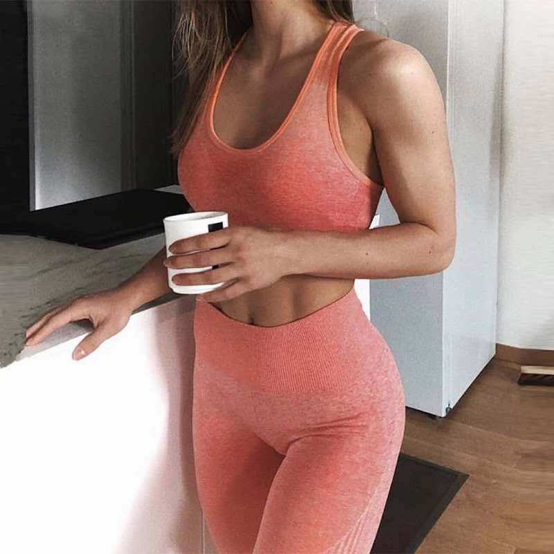 Kaminsky 2019 New Ombre Seamless 2 Pieces Sets For Fitness Bra Top With Removable Pad Push Up Workout Bra Active Wear sports set