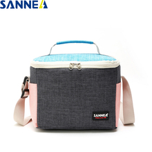 SANNE 2019 New Design Fashion Thermal Food Picnic Lunch Bags Cooler Box Frosted fabric Portable Multifunction lunch Bag