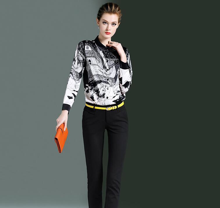 Haute qualité! Marque originale femme printemps décontracté blanc noir imprimé chemise femme manches longues OL chemise chic blouse hauts TB719 - 3