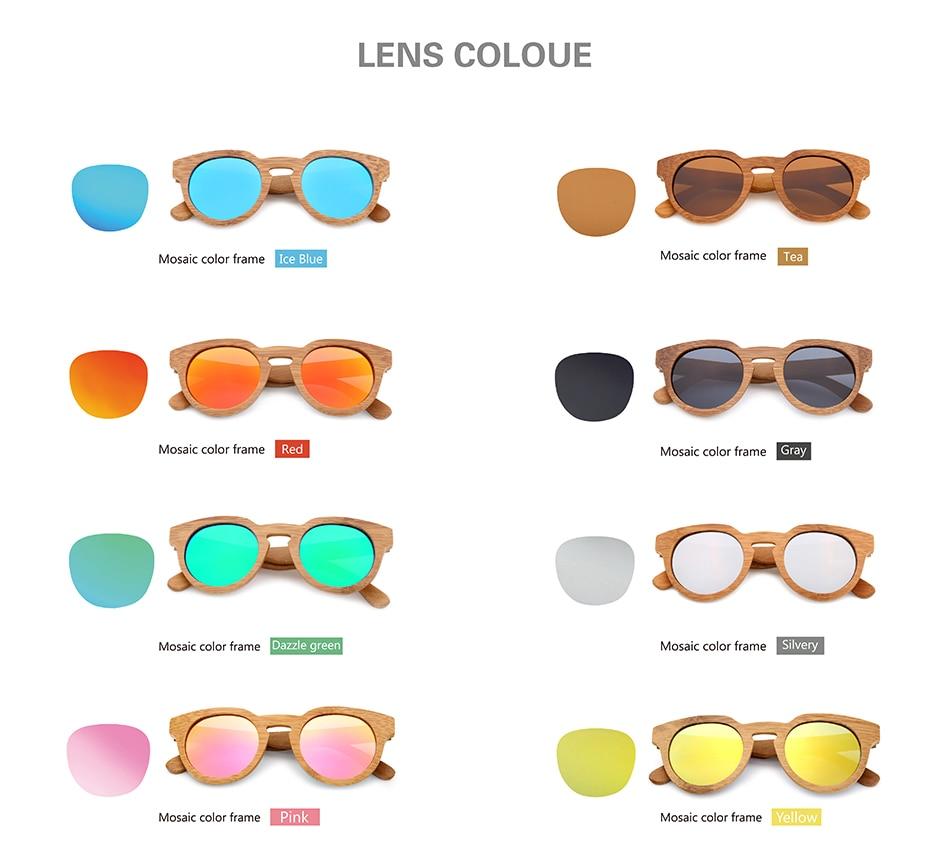 Bamboo Vintage Women oval Wood sunglasses 13