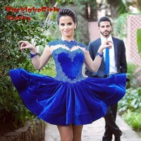 Vestido Curto Royal Bule Long Sleeve Lace Velvet Tight Homecoming Gowns Beaded Sequined Junior Graduation Dresses