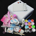 FT-76 Professional Full Set 12 color UV Gel Kit Brush Nail Art Set + 36W Curing UV Lamp kit Dryer Curining Tools