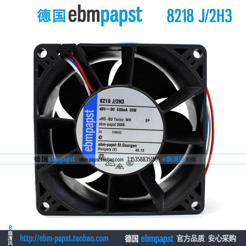 Ebm papst 8218 J2H3 8218J/2H3 DC 48 V 0.53A 25 W 80x80x38mm ventilateur refroidisseur de serveur