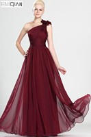 Freeshipping Simple Elegant One Shoulder A Line Pleated Bodice Burgundy Prom Dress