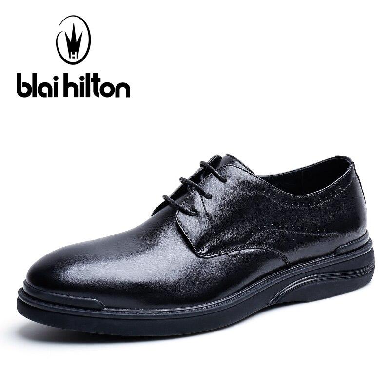 Blai Хилтон 2018 Новая мода 100% люкс из натуральной коровьей кожи весна/осень Для мужчин обувь дышащая/удобные Для Мужчин's повседневная обувь