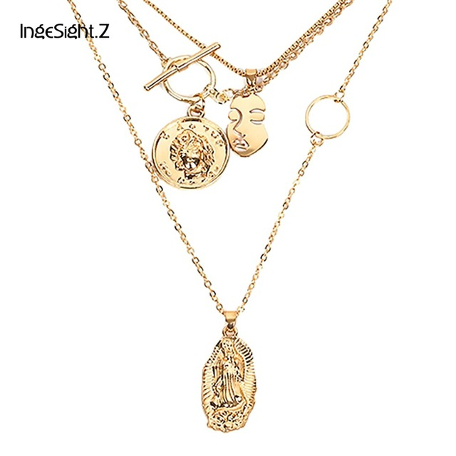 IngeSight.Z Boho Multi Layer Chain Pendant Choker Necklace Portrait Coin Virgin Mary Face Fashion Women Statement Jewelry Female