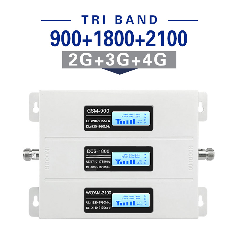 2G 3G 4G Signal Booster GSM Repeater Amplifier 4G Mobile Phone GSM 900 DCS 1800 WCDMA 2100 Tir Band Cell Phone cellular Booster