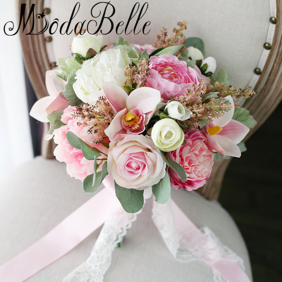 buy artificial wedding bouquets online aliexpress buy modabelle new style pink bridesmaid 2168