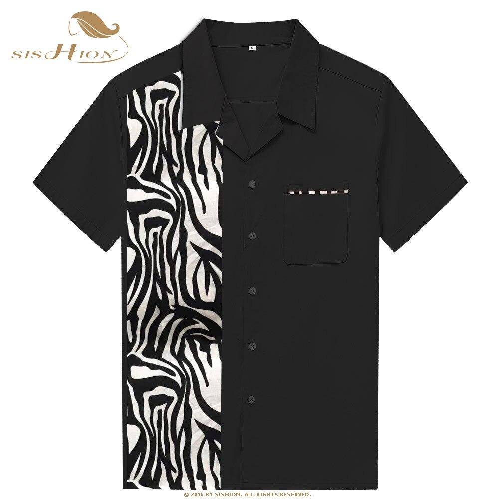 Intelligent Sishion 2019 Männer Sommer Hemd St110 Tier Zebra Muster Kurzarm Baumwolle Schwarz Shirt Für Männer Camicia Uomo Tasche Hoher Standard In QualitäT Und Hygiene Herrenbekleidung & Zubehör