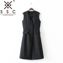 SSC Autumn and Winter Women's Black V-neck Long Vest Fashion Office Slim Cropped Top 2018 New Sleeveless Suit Vest F120