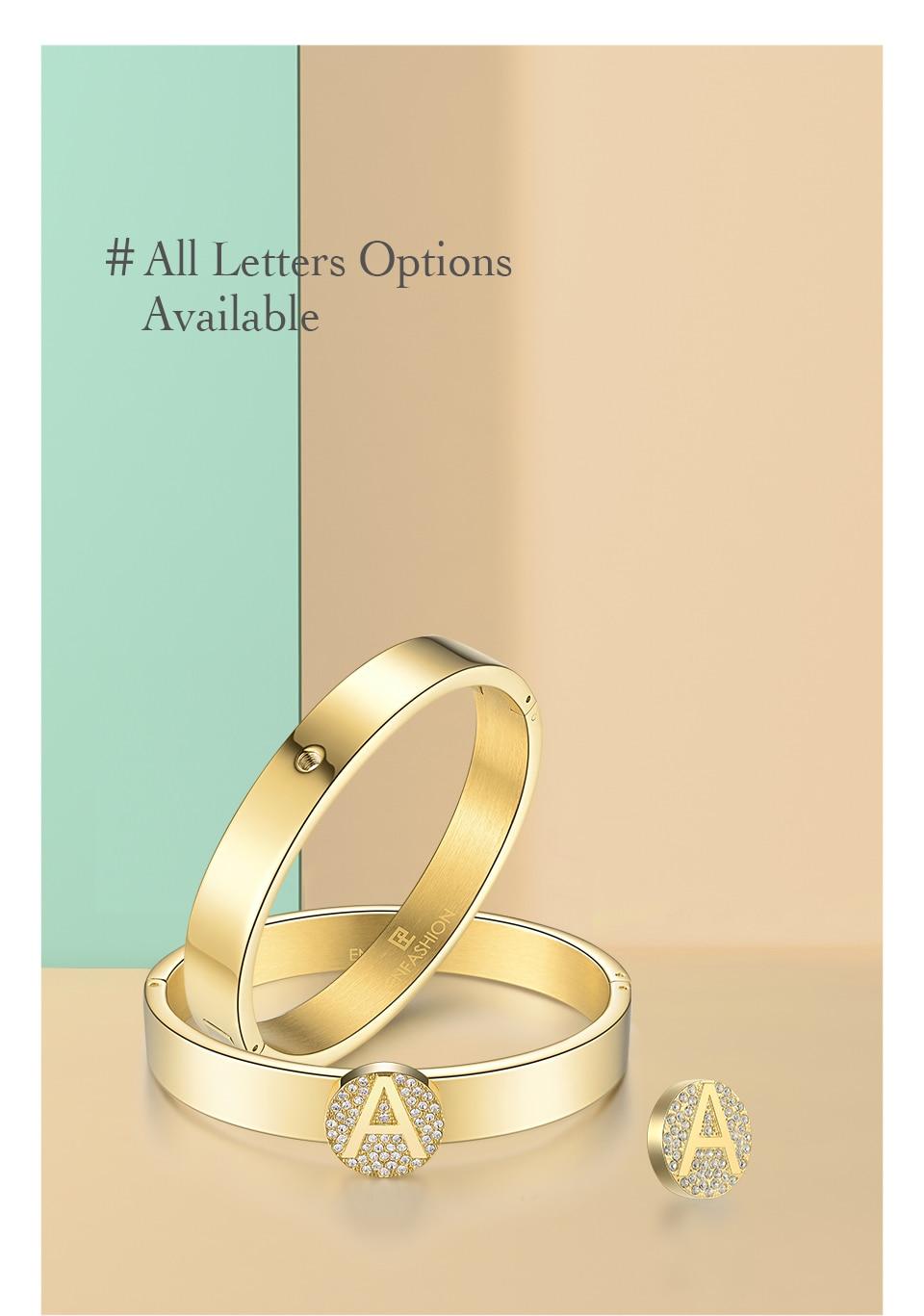 21d13513526 Enfashion Letter Initial Bangle Bracelet Stainless Steel Gold Color ...