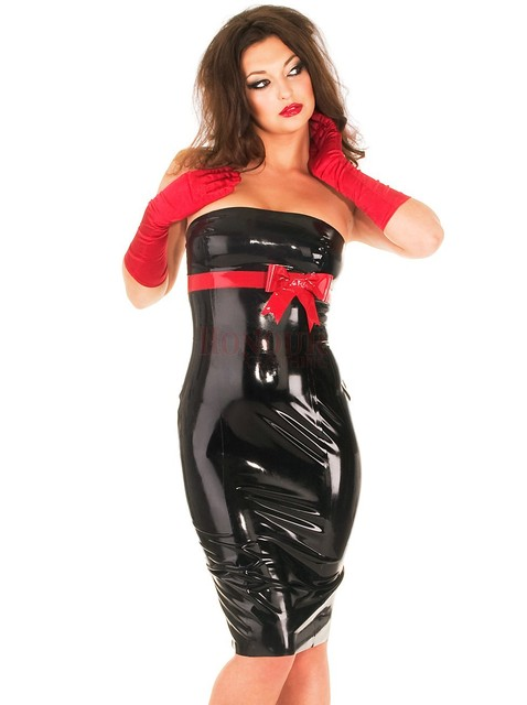 latex  knee dress with straps  clear simple style sexy and tight