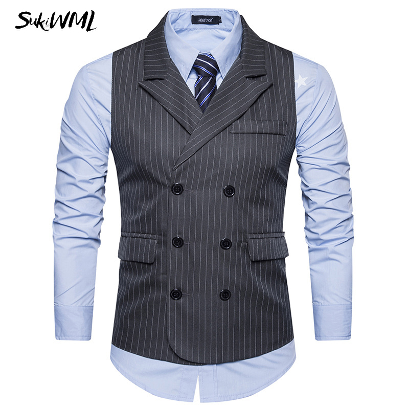 SUKIWML 2017 New Strip Suit Vest Men Slim Fit Homme Gilet De Costume Casual Mens Double Breasted Vest Wedding Mens Suit Vest ...
